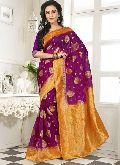 Divine Boutique Violet Banarasi Silk Saree