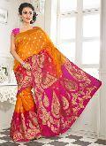Divine Boutique Yellow Pink Banarasi Silk Saree