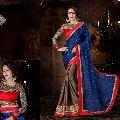 Enchanting Blue & Chocolate Embroidered Satin Chiffon Saree