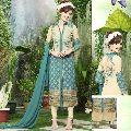 Cream Sea Green Embroidered Georgette Salwar Kameez