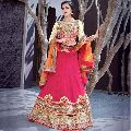 Majestic Hot Pink Patch Border Work a Line Lehenga Choli