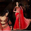 Opulent Red Embroidered Pure Silk Saree