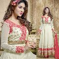 Phenomenal Cream Embroidered Soft Net Party Wear Anarkali Suit