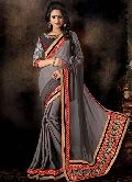 Grey Embroidered Georgette Jacquard Saree