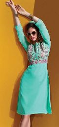 Voluptuous Sky Blue Embroidered Georgette Kurti