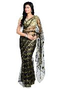 Golden Black Jari Net Saree