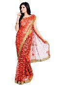 Golden Red Jari Net Saree