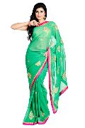 Green Georgette Jari Work Saree with Pink Bo