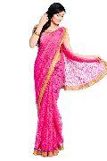 Pink Brasso Net Jari Work Saree