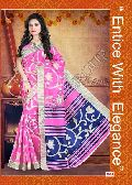 Pink Semi Cotton with Bhagalpuri Silk Saree