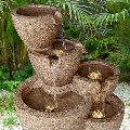 Sandstone Tiered Multi-Pots Fountain