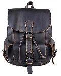 Designer Black Leather Backpack Bag