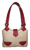 Ladise Leather Hand Bags Red & White Colour