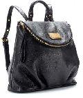 Plain Black Leather Backpack Bag