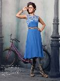 Shonaya Blue Colour Embroidered Georgette Stitched Kurti