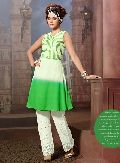 Green Colour Embroidered Georgette Stitched Kurti