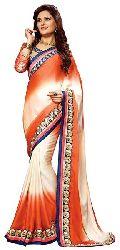 Shonaya Orange Colour Georgette Embroidered Sarees