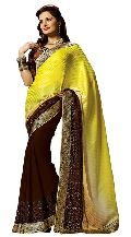 Shonaya Yellow & Mehendi Colour Georgette Embroidered Sarees
