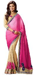 Beige Colour Georgette Embroidered Sarees