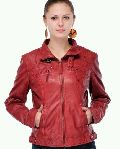 Ladies Red Leather Jacket