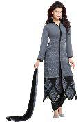 Dark Grey Embroidered Chanderi Churidar Suits
