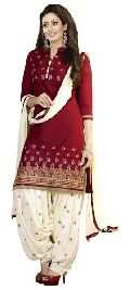 Maroon Embroidered Chanderi Salwar Suits