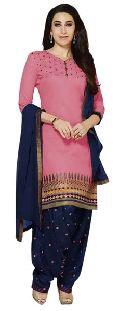 Pink Embroidered Chanderi Salwar Suits