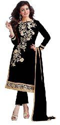 Black Embroidered Chanderi Churidar Suits