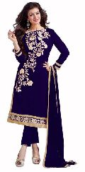 Navy Blue Embroidered Chanderi Churidar Suits