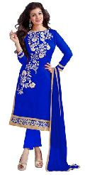 Royal Blue Embroidered Chanderi Churidar Suits