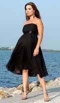 Ladies black chiffon one-piece dress