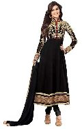 Black Unstitched Chanderi Suit
