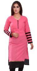 Plain Pink Cotton Unstitched Kurti