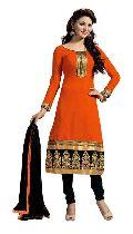 Orange Unstitched Chanderi Suit