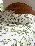 Crewel Bedding - Leaves Green On White Cotton Crewel Duvet Cover (king)