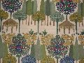 Crewel Fabric Moghul Garden Blues On Sweet Pine Cotton Duck