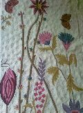 Crewel Rug Floral Vine Butterfly Multi Chain Stitched Wool Rug