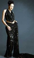 Self Sequence Embroidery Georgette Saree