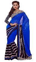 Manjula Blue Black Exclusive Designer Chiffon Saree
