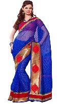 Manjula Blue Exclusive Designer Thousand butti art kora Saree
