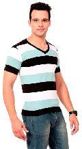 Mens Bold Striped V-Neck T-Shirts