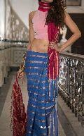 Striped Linen Saree With Zari