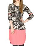 Pink and Black Printed Crepe Kurti