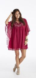 Ladies Rayon Georgette Kaftan With Contrast Computer Embroidery
