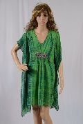 Ladies Tie And Dye Georgette Kaftan With Kangaroo Pockets And Chain Work On Empire Line
