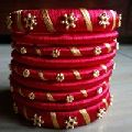 Red gold color silk thread bangles
