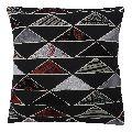 Black Triangle Print Cotton Silk Patchwork Cushion Cover