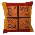 Yellow Embroidered Cotton Patchwork Cushion Cover
