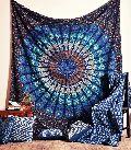 Mandala blue mrichi tapestry