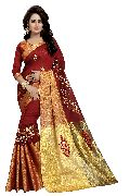 Ak Red Embroidered Sarees